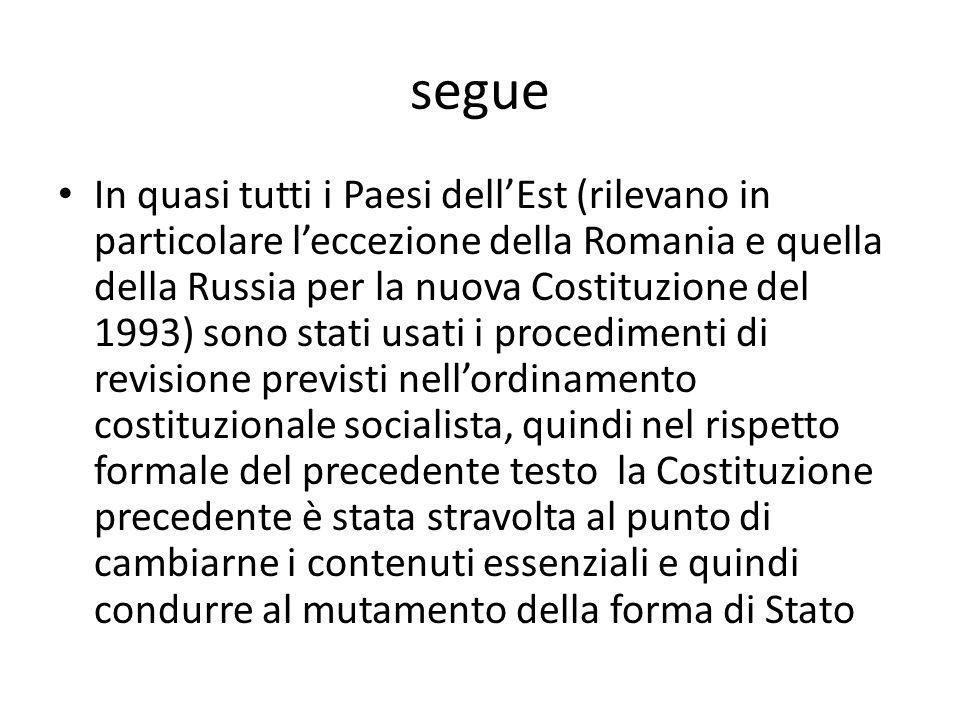 segue In quasi tutti i Paesi dellEst (rilevano in particolare leccezione della Romania e quella della Russia per la nuova Costituzione del 1993) sono