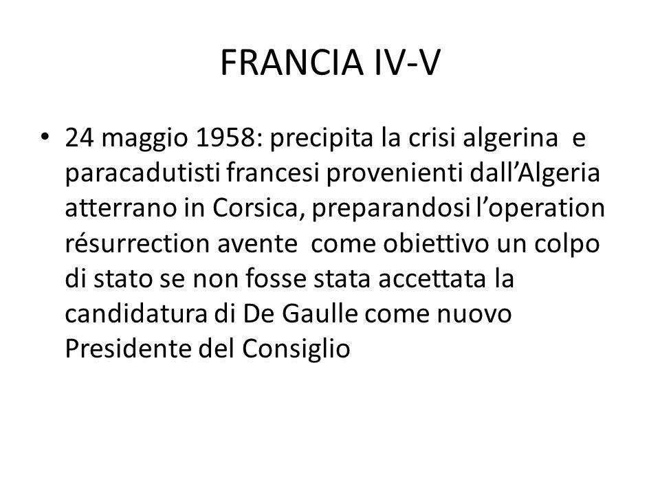 FRANCIA IV-V 24 maggio 1958: precipita la crisi algerina e paracadutisti francesi provenienti dallAlgeria atterrano in Corsica, preparandosi loperation résurrection avente come obiettivo un colpo di stato se non fosse stata accettata la candidatura di De Gaulle come nuovo Presidente del Consiglio