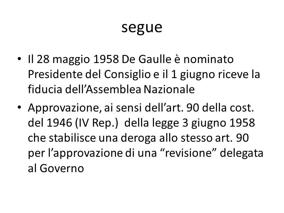 segue Il 28 maggio 1958 De Gaulle è nominato Presidente del Consiglio e il 1 giugno riceve la fiducia dellAssemblea Nazionale Approvazione, ai sensi dellart.