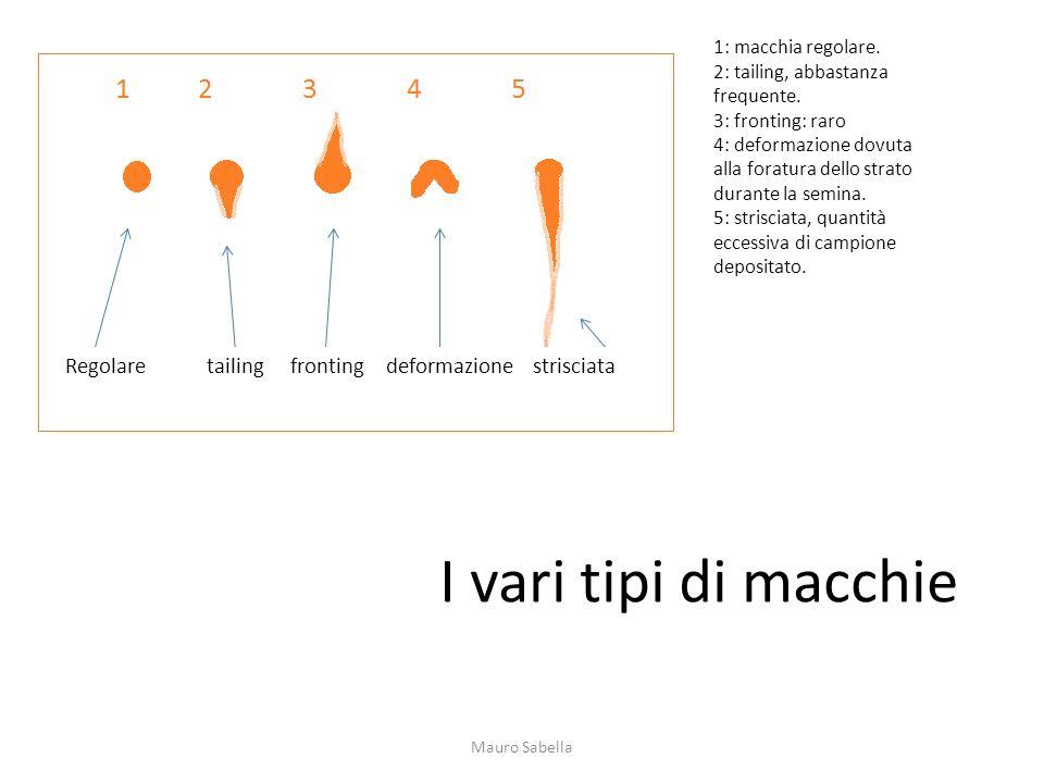 I vari tipi di macchie 1: macchia regolare. 2: tailing, abbastanza frequente. 3: fronting: raro 4: deformazione dovuta alla foratura dello strato dura