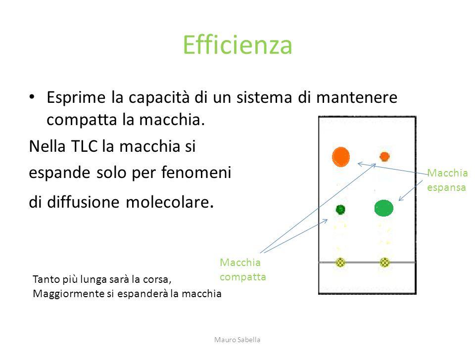 Efficienza Esprime la capacità di un sistema di mantenere compatta la macchia. Nella TLC la macchia si espande solo per fenomeni di diffusione molecol