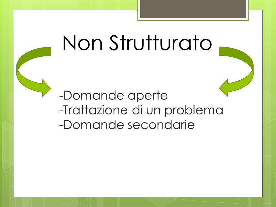 Non Strutturato -Domande aperte -Trattazione di un problema -Domande secondarie