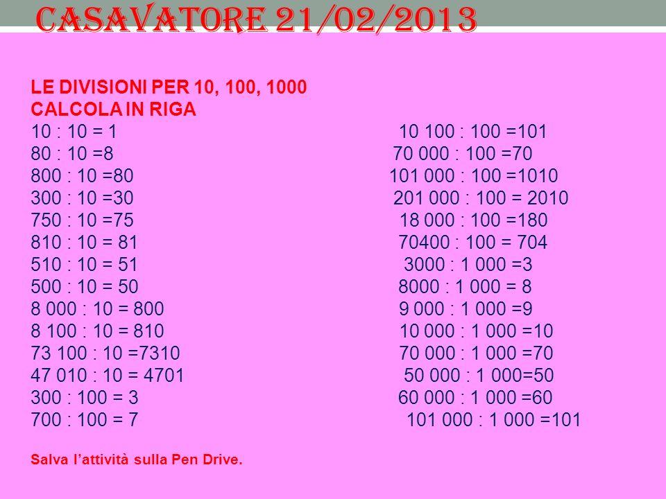CASAVATORE 21/02/2013 LE DIVISIONI PER 10, 100, 1000 CALCOLA IN RIGA 10 : 10 = 1 10 100 : 100 =101 80 : 10 =8 70 000 : 100 =70 800 : 10 =80 101 000 : 100 =1010 300 : 10 =30 201 000 : 100 = 2010 750 : 10 =75 18 000 : 100 =180 810 : 10 = 81 70400 : 100 = 704 510 : 10 = 51 3000 : 1 000 =3 500 : 10 = 50 8000 : 1 000 = 8 8 000 : 10 = 800 9 000 : 1 000 =9 8 100 : 10 = 810 10 000 : 1 000 =10 73 100 : 10 =7310 70 000 : 1 000 =70 47 010 : 10 = 4701 50 000 : 1 000=50 300 : 100 = 3 60 000 : 1 000 =60 700 : 100 = 7 101 000 : 1 000 =101 Salva lattività sulla Pen Drive.