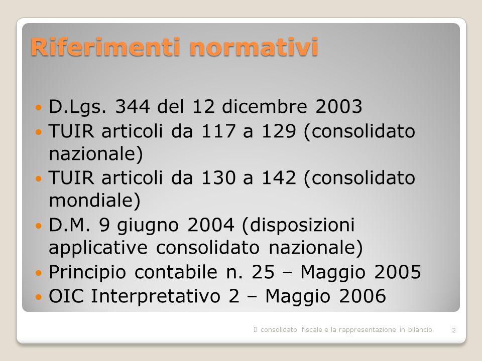 Perdite fiscali: esempio Il consolidato fiscale e la rappresentazione in bilancio13