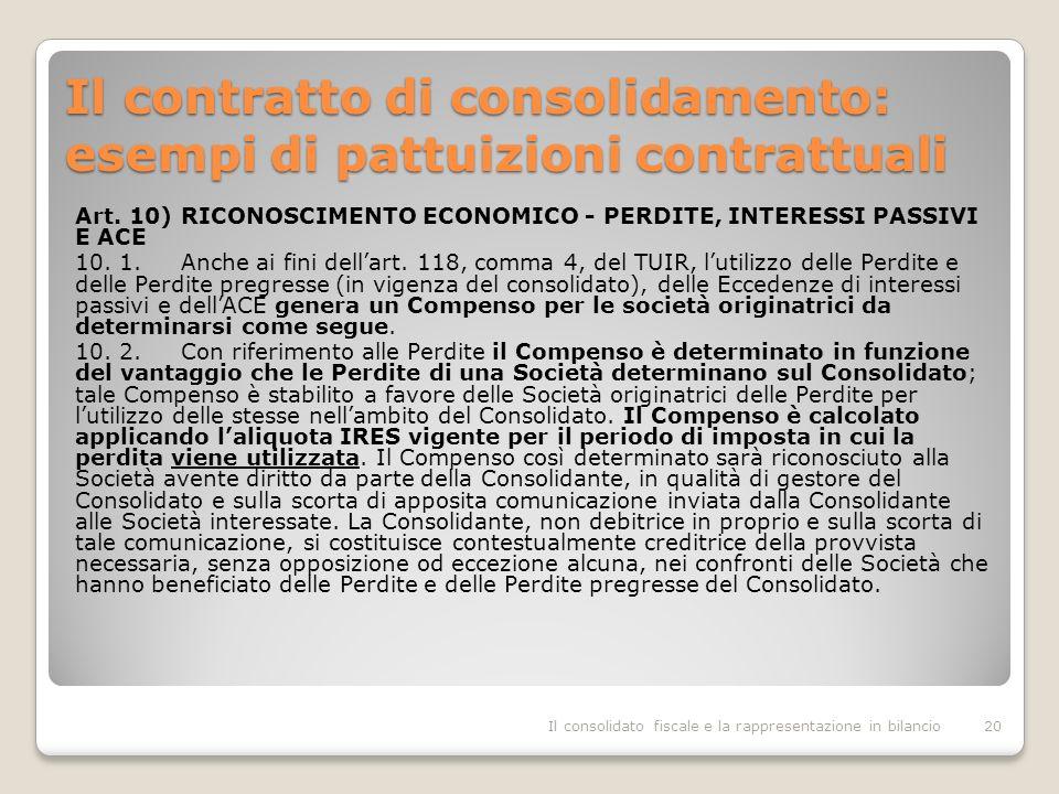 Il contratto di consolidamento: esempi di pattuizioni contrattuali Art.