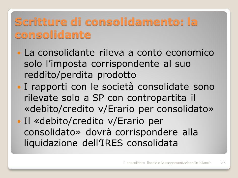 Scritture di consolidamento: la consolidante La consolidante rileva a conto economico solo limposta corrispondente al suo reddito/perdita prodotto I rapporti con le società consolidate sono rilevate solo a SP con contropartita il «debito/credito v/Erario per consolidato» Il «debito/credito v/Erario per consolidato» dovrà corrispondere alla liquidazione dellIRES consolidata Il consolidato fiscale e la rappresentazione in bilancio27