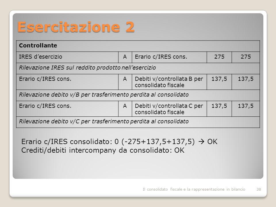 Esercitazione 2 Il consolidato fiscale e la rappresentazione in bilancio38 Controllante IRES desercizioAErario c/IRES cons.275 Rilevazione IRES sul reddito prodotto nellesercizio Erario c/IRES cons.ADebiti v/controllata B per consolidato fiscale 137,5 Rilevazione debito v/B per trasferimento perdita al consolidato Erario c/IRES cons.ADebiti v/controllata C per consolidato fiscale 137,5 Rilevazione debito v/C per trasferimento perdita al consolidato Erario c/IRES consolidato: 0 (-275+137,5+137,5) OK Crediti/debiti intercompany da consolidato: OK