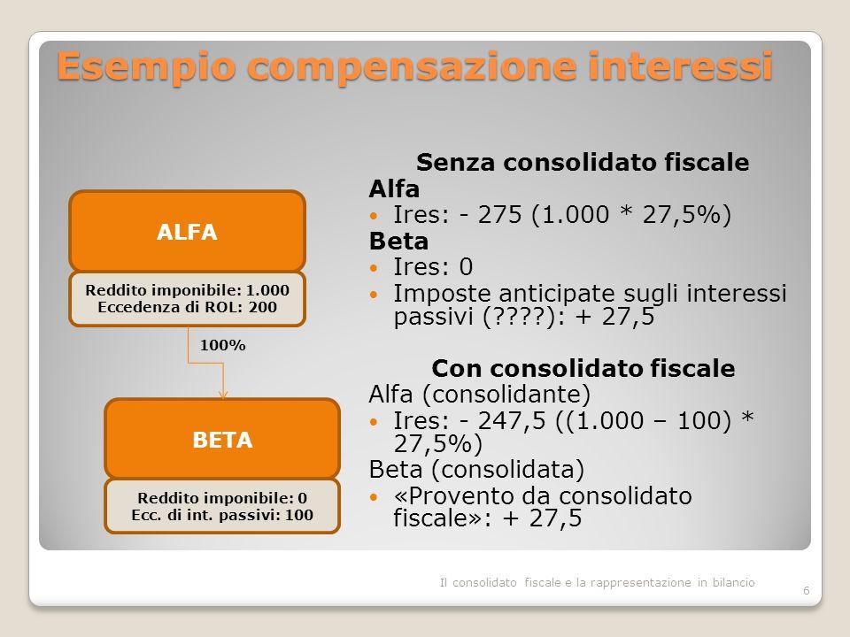 Esempio compensazione interessi Senza consolidato fiscale Alfa Ires: - 275 (1.000 * 27,5%) Beta Ires: 0 Imposte anticipate sugli interessi passivi (????): + 27,5 Con consolidato fiscale Alfa (consolidante) Ires: - 247,5 ((1.000 – 100) * 27,5%) Beta (consolidata) «Provento da consolidato fiscale»: + 27,5 6 ALFA Reddito imponibile: 1.000 Eccedenza di ROL: 200 BETA Reddito imponibile: 0 Ecc.