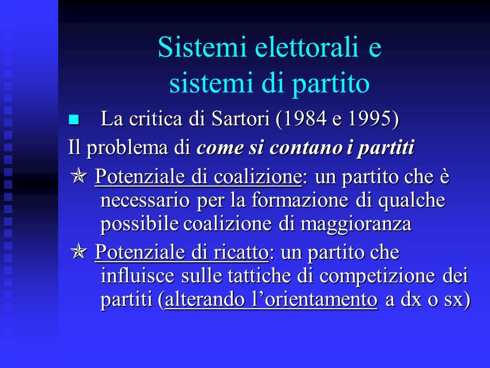 Sistemi elettorali e sistemi di partito La critica di Sartori (1984 e 1995) La critica di Sartori (1984 e 1995) Il problema di come si contano i parti