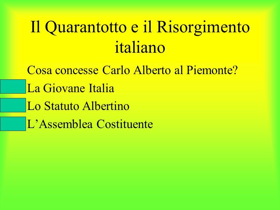 Il Quarantotto e il Risorgimento italiano Cosa concesse Carlo Alberto al Piemonte? La Giovane Italia Lo Statuto Albertino LAssemblea Costituente