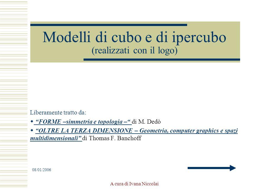 A cura di Ivana Niccolai Modelli di cubo e di ipercubo (realizzati con il logo) Liberamente tratto da: FORME –simmetria e topologia – di M. Dedò FORME
