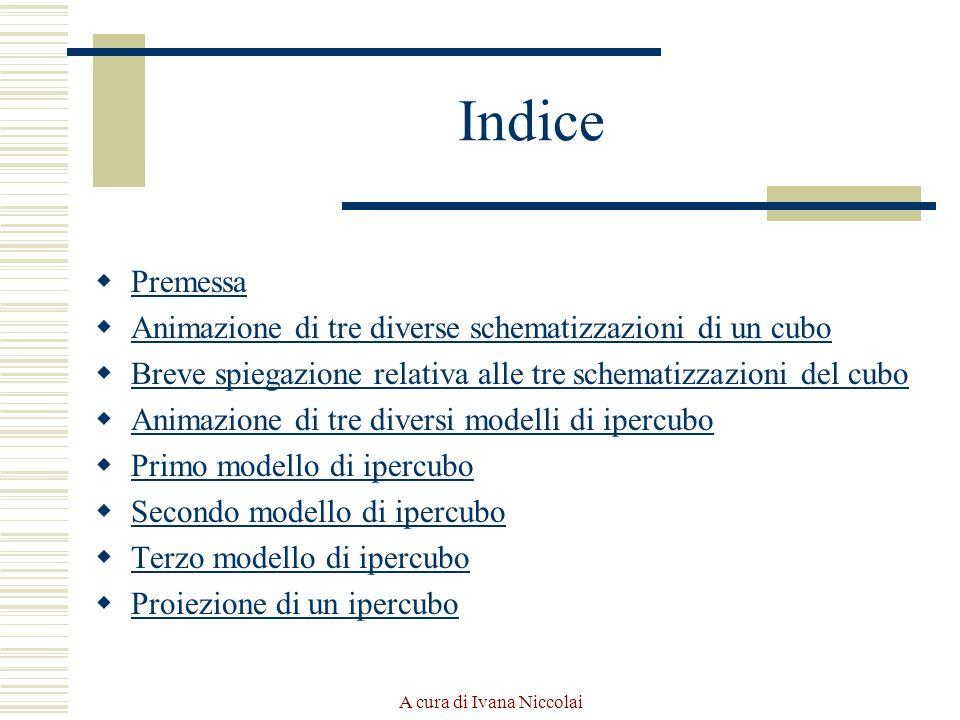 A cura di Ivana Niccolai Indice Premessa Animazione di tre diverse schematizzazioni di un cubo Breve spiegazione relativa alle tre schematizzazioni de