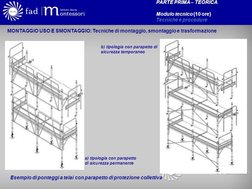 PARTE PRIMA – TEORICA Modulo tecnico (10 ore) Tecniche e procedure a) tipologia con parapetto di sicurezza permanente b) tipologia con parapetto di si