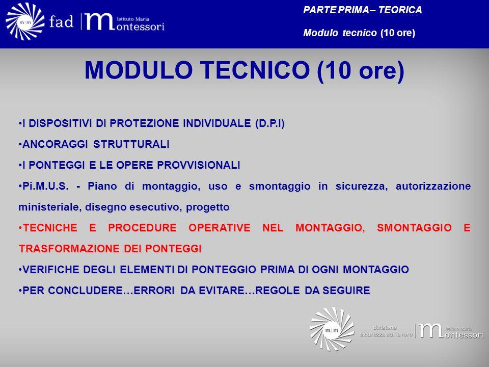 MODULO TECNICO (10 ore) I DISPOSITIVI DI PROTEZIONE INDIVIDUALE (D.P.I)I DISPOSITIVI DI PROTEZIONE INDIVIDUALE (D.P.I) ANCORAGGI STRUTTURALIANCORAGGI