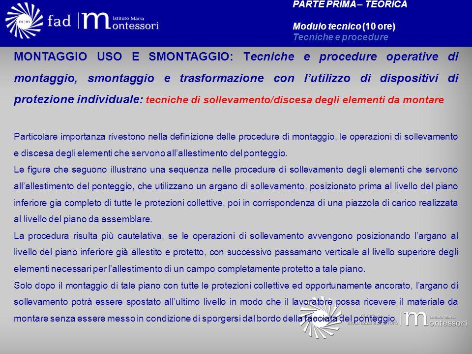 MONTAGGIO USO E SMONTAGGIO: Tecniche e procedure operative di montaggio, smontaggio e trasformazione con lutilizzo di dispositivi di protezione indivi