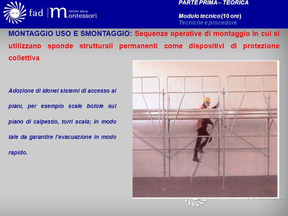 PARTE PRIMA – TEORICA Modulo tecnico (10 ore) Tecniche e procedure MONTAGGIO USO E SMONTAGGIO: Sequenze operative di montaggio in cui si utilizzano sp