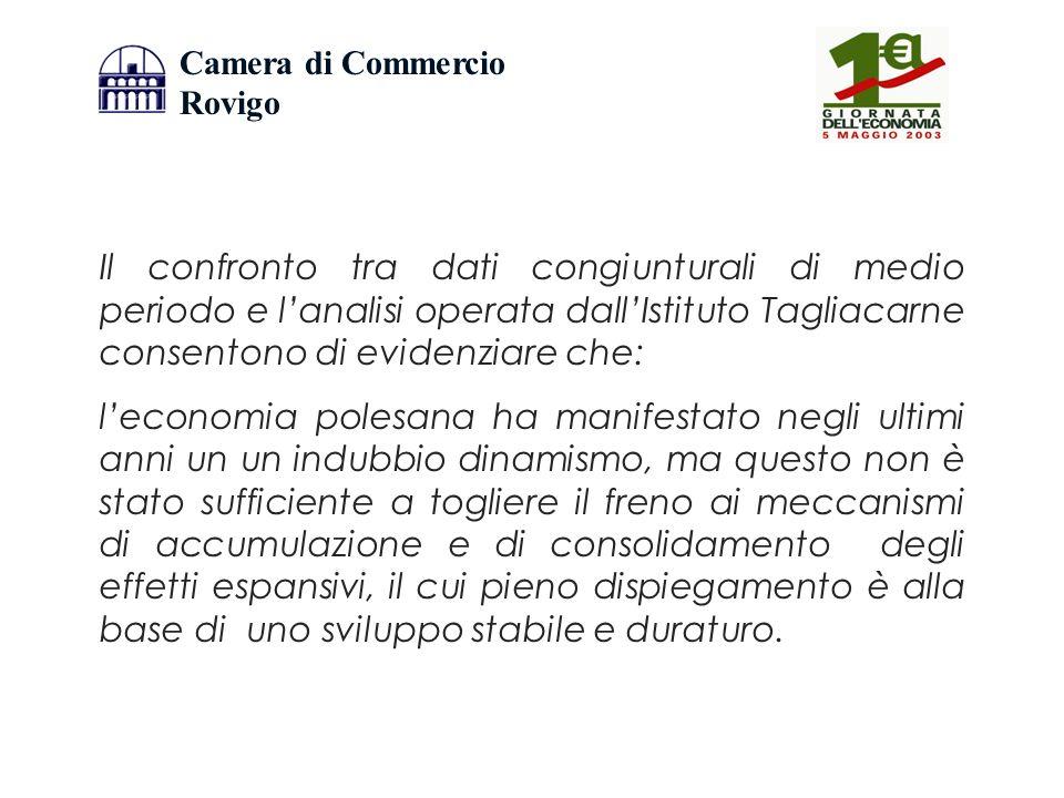 Camera di Commercio Rovigo Il confronto tra dati congiunturali di medio periodo e lanalisi operata dallIstituto Tagliacarne consentono di evidenziare