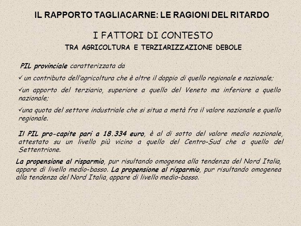 IL RAPPORTO TAGLIACARNE: LE RAGIONI DEL RITARDO I FATTORI DI CONTESTO TRA AGRICOLTURA E TERZIARIZZAZIONE DEBOLE Il PIL pro-capite pari a 18.334 euro,