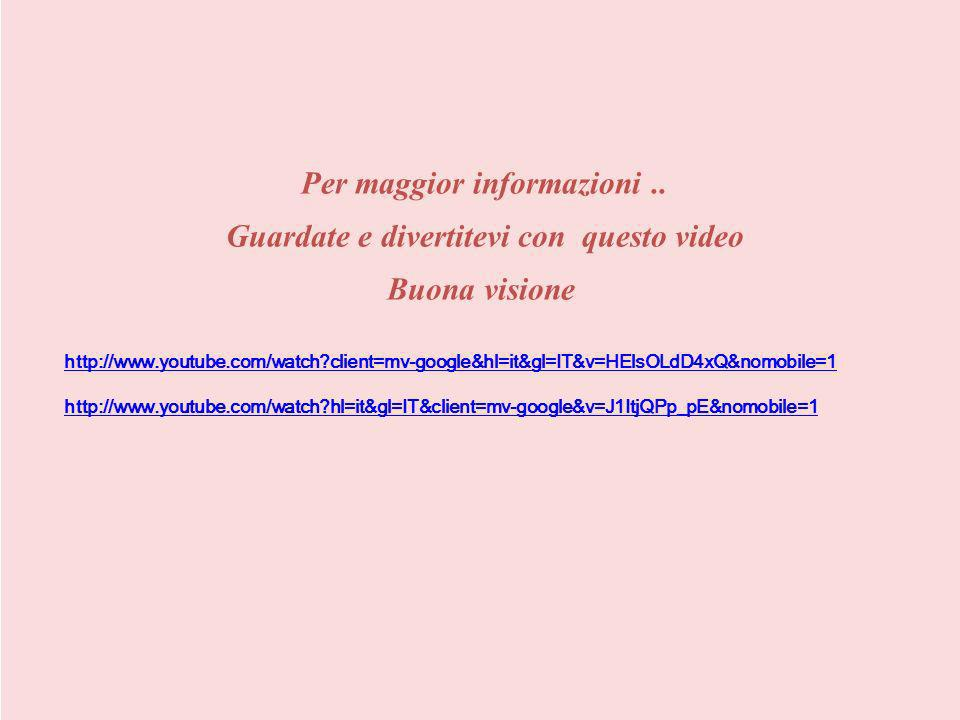 Per maggior informazioni.. Guardate e divertitevi con questo video Buona visione http://www.youtube.com/watch?client=mv-google&hl=it&gl=IT&v=HElsOLdD4