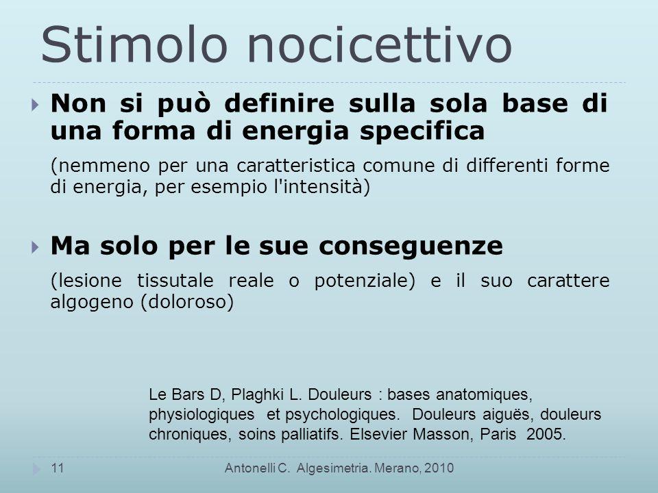 Stimolo nocicettivo Antonelli C.Algesimetria.