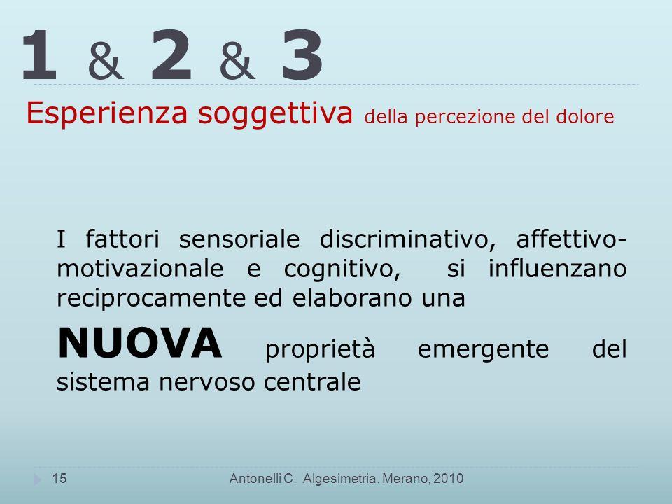 1 & 2 & 3 Esperienza soggettiva della percezione del dolore Antonelli C.