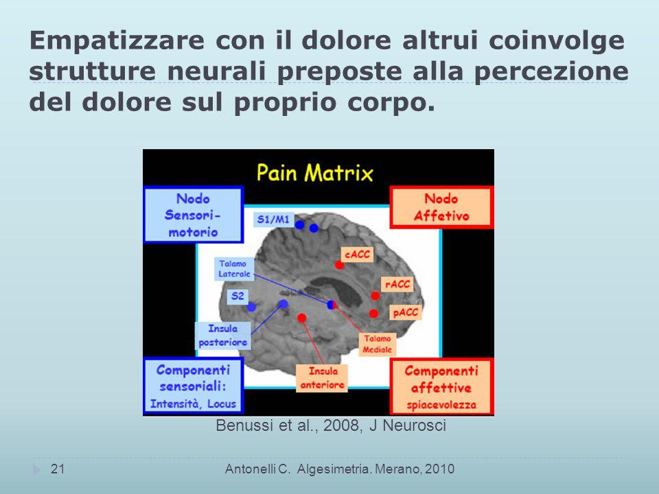 Empatizzare con il dolore altrui coinvolge strutture neurali preposte alla percezione del dolore sul proprio corpo.