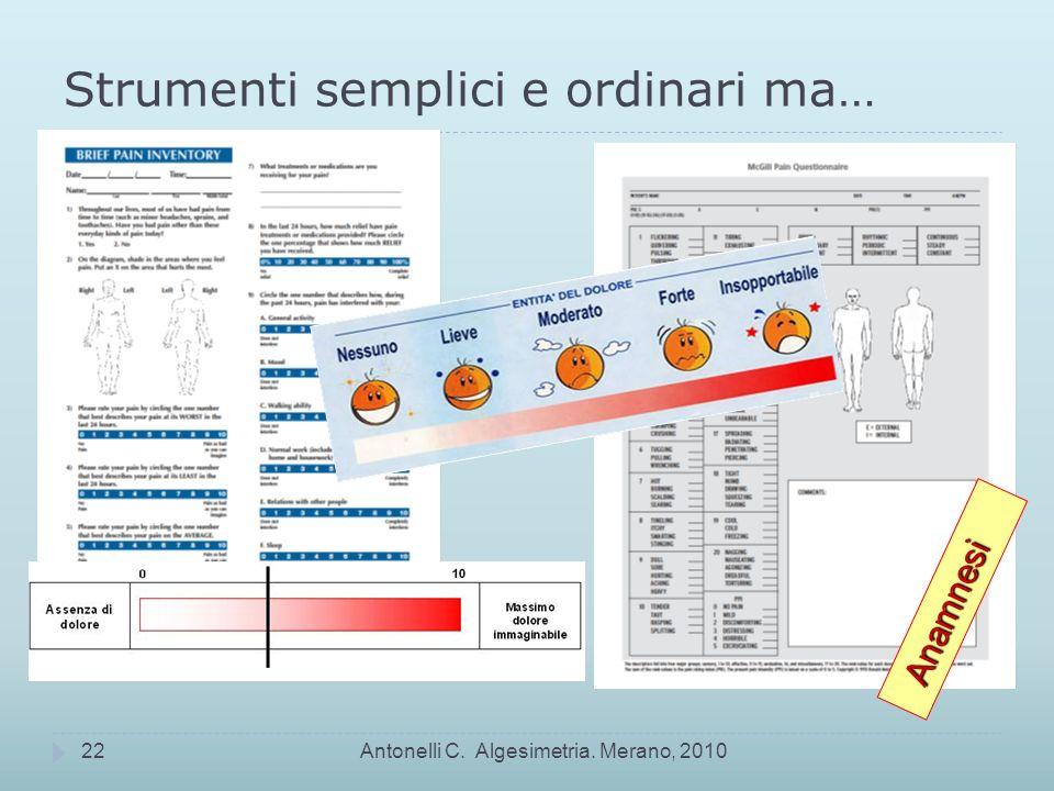Strumenti semplici e ordinari ma… Antonelli C. Algesimetria. Merano, 201022 Anamnesi Anamnesi