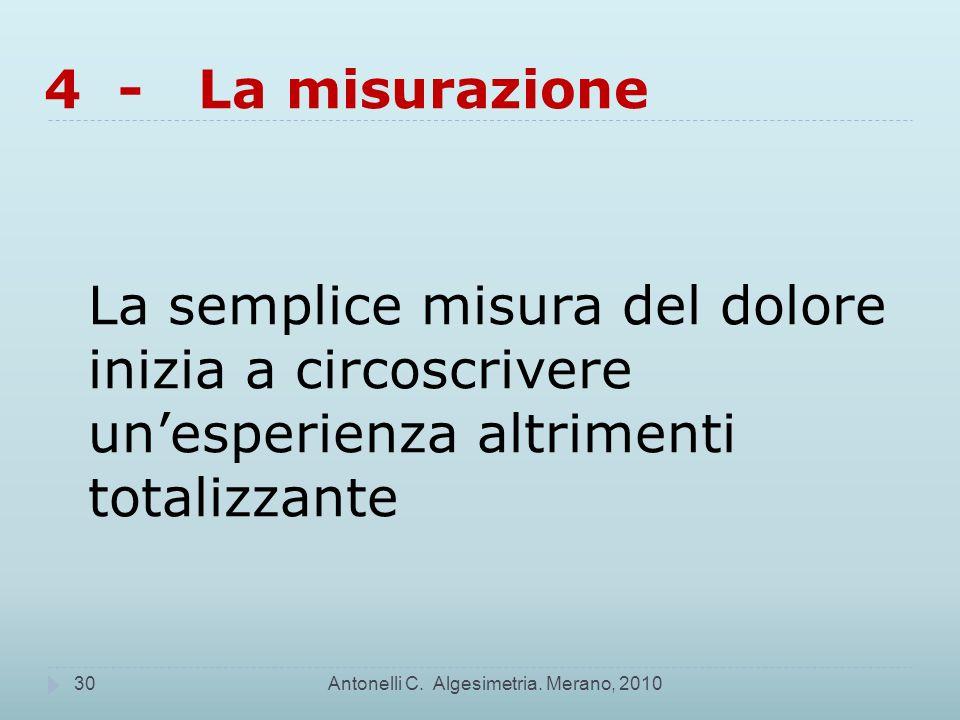 4 - La misurazione La semplice misura del dolore inizia a circoscrivere unesperienza altrimenti totalizzante Antonelli C.