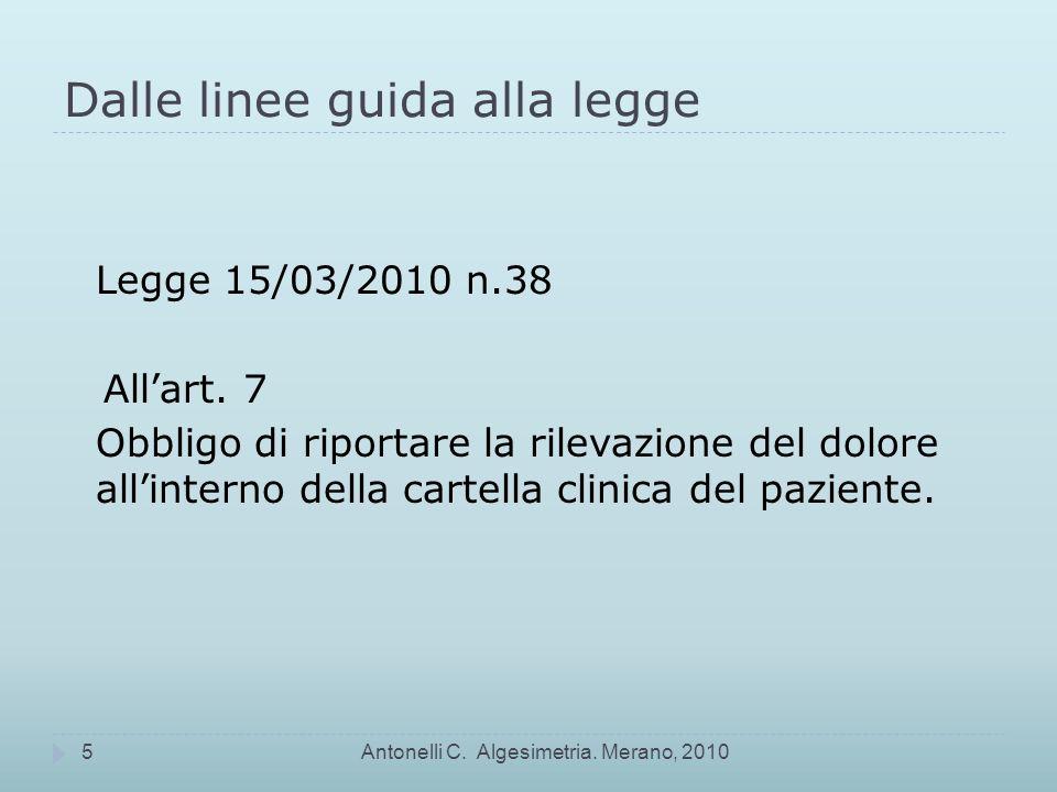 Dalle linee guida alla legge Legge 15/03/2010 n.38 Allart.