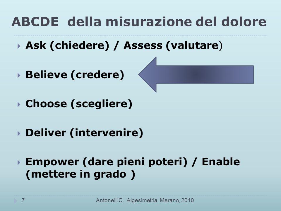 ABCDE della misurazione del dolore Ask (chiedere) / Assess (valutare) Believe (credere) Choose (scegliere) Deliver (intervenire) Empower (dare pieni poteri) / Enable (mettere in grado ) Antonelli C.