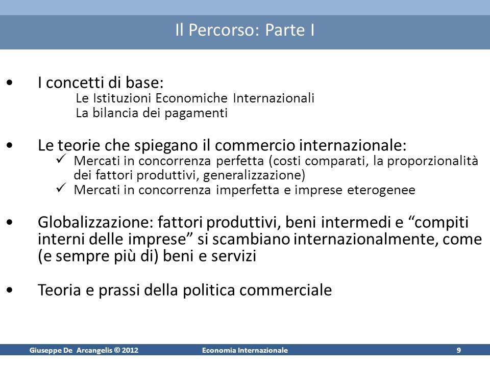 Giuseppe De Arcangelis © 2012Economia Internazionale9 Il Percorso: Parte I I concetti di base: Le Istituzioni Economiche Internazionali La bilancia de