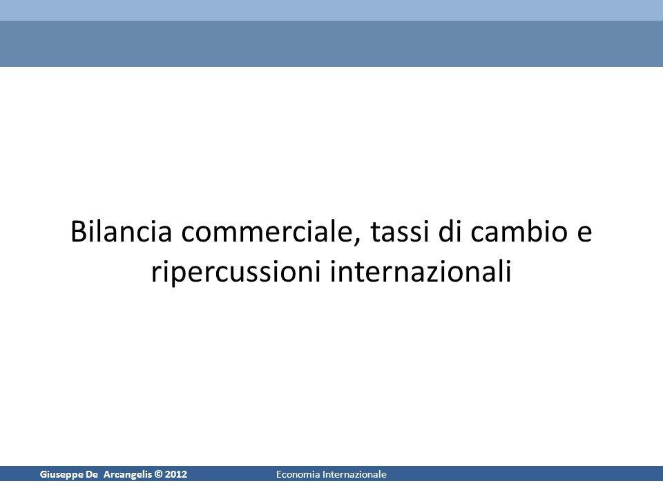 Giuseppe De Arcangelis © 2012Economia Internazionale2 Piano della Lezione Deprezzamento della valuta nazionale e miglioramenti nella bilancia commerciale Leffetto locomotiva internazionale