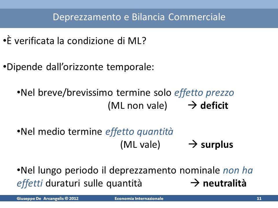 Giuseppe De Arcangelis © 2012Economia Internazionale12 Curva a J e curva a S tempo O saldo bil.