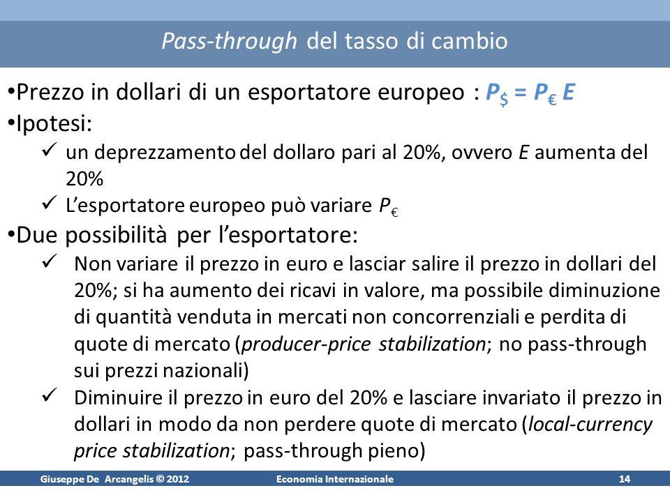 Giuseppe De Arcangelis © 2012Economia Internazionale15 Bilancia Commerciale, mercato dei beni nazionali e PIL Poiché le importazioni aumentano con il reddito, la bilancia commerciale peggiora sempre se leconomia è in forte espansione.