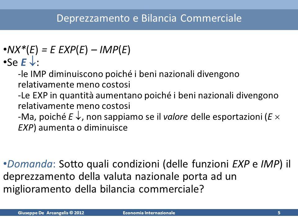 Giuseppe De Arcangelis © 2012Economia Internazionale6 Deprezzamento e Bilancia Commerciale Definiamo: -[ EXP/EXP]/[ E/E] – | EXP | (elasticità della domanda di esportazioni al tasso di cambio) -[ IMP/IMP]/[ E/E] IMP (elasticità della domanda di importazioni al tasso di cambio) NX*/ E = EXP {1 – | EXP | – IMP } Affinché la bilancia commerciale migliori quando si ha un deprezzamento della valuta nazionale occorre che NX*/ E < 0.