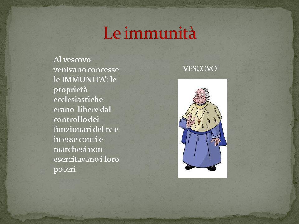 VESCOVO Al vescovo venivano concesse le IMMUNITA: le proprietà ecclesiastiche erano libere dal controllo dei funzionari del re e in esse conti e marchesi non esercitavano i loro poteri