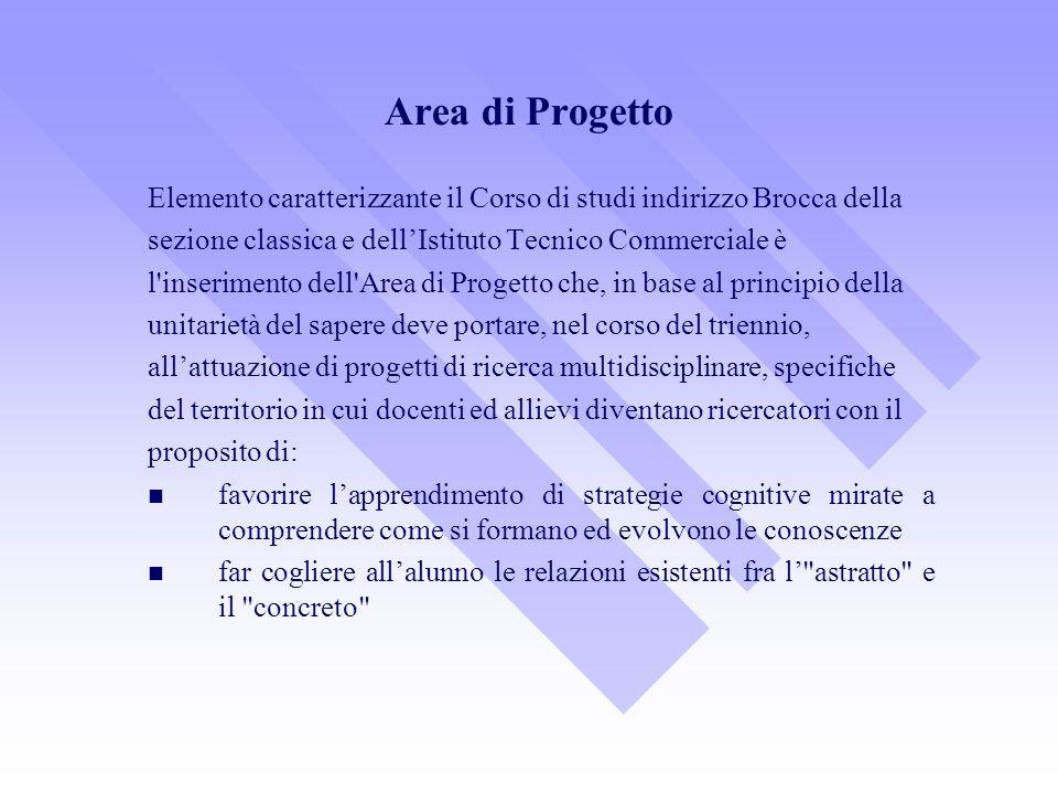 Area di Progetto Elemento caratterizzante il Corso di studi indirizzo Brocca della sezione classica e dellIstituto Tecnico Commerciale è l'inserimento