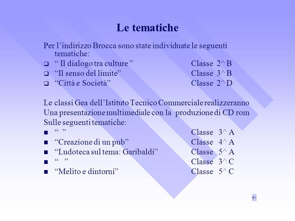 Le tematiche Per lindirizzo Brocca sono state individuate le seguenti tematiche: Il dialogo tra culture Classe 2^ B Il senso del limiteClasse 3^ B Cit