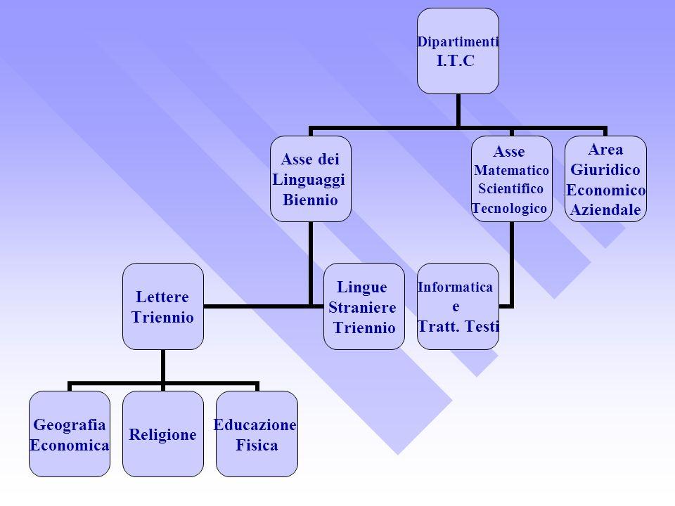 Dipartimenti I.T.C Asse dei Linguaggi Biennio Lettere Triennio Geografia Economica Religione Educazione Fisica Lingue Straniere Triennio Asse Matemati