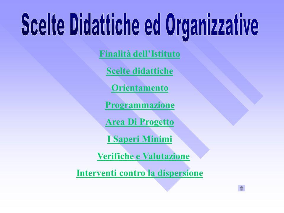 Finalità dellIstituto Scelte didattiche Orientamento Programmazione Area Di Progetto I Saperi Minimi Verifiche e Valutazione Interventi contro la disp