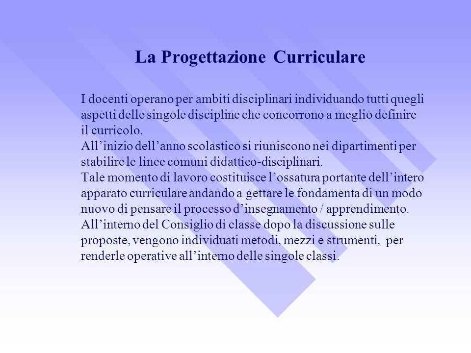 La Progettazione Curriculare I docenti operano per ambiti disciplinari individuando tutti quegli aspetti delle singole discipline che concorrono a meg