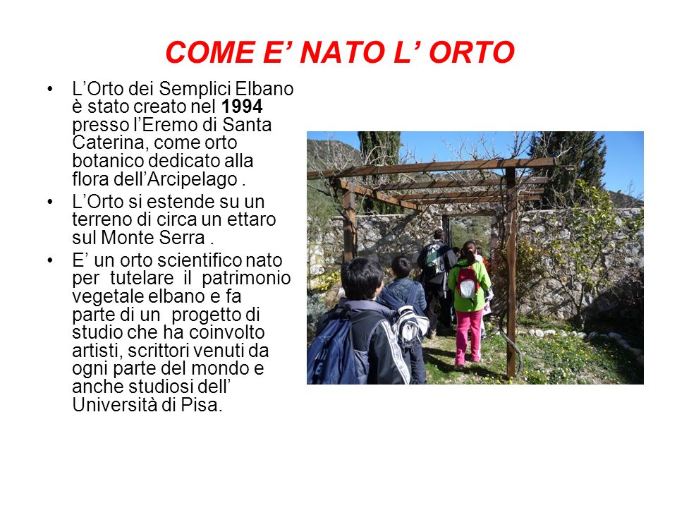 COME E NATO L ORTO LOrto dei Semplici Elbano è stato creato nel 1994 presso lEremo di Santa Caterina, come orto botanico dedicato alla flora dellArcipelago.