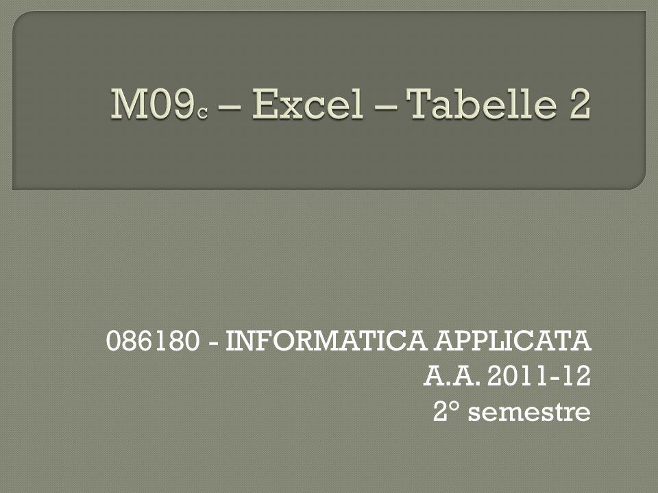 086180 - INFORMATICA APPLICATA A.A. 2011-12 2° semestre