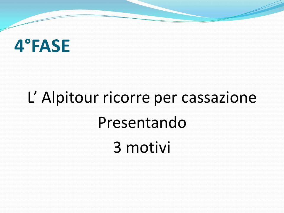 4°FASE L Alpitour ricorre per cassazione Presentando 3 motivi