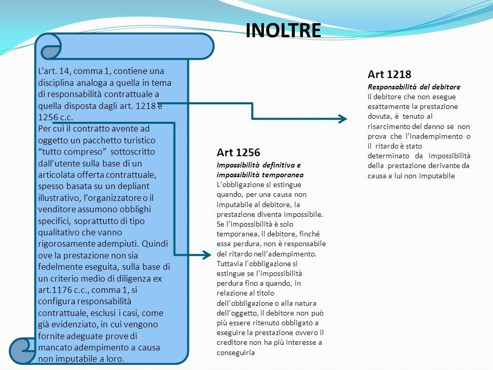 INOLTRE Lart. 14, comma 1, contiene una disciplina analoga a quella in tema di responsabilità contrattuale a quella disposta dagli art. 1218 e 1256 c.