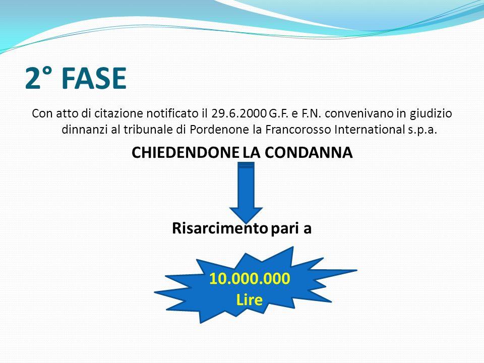 2° FASE Con atto di citazione notificato il 29.6.2000 G.F. e F.N. convenivano in giudizio dinnanzi al tribunale di Pordenone la Francorosso Internatio