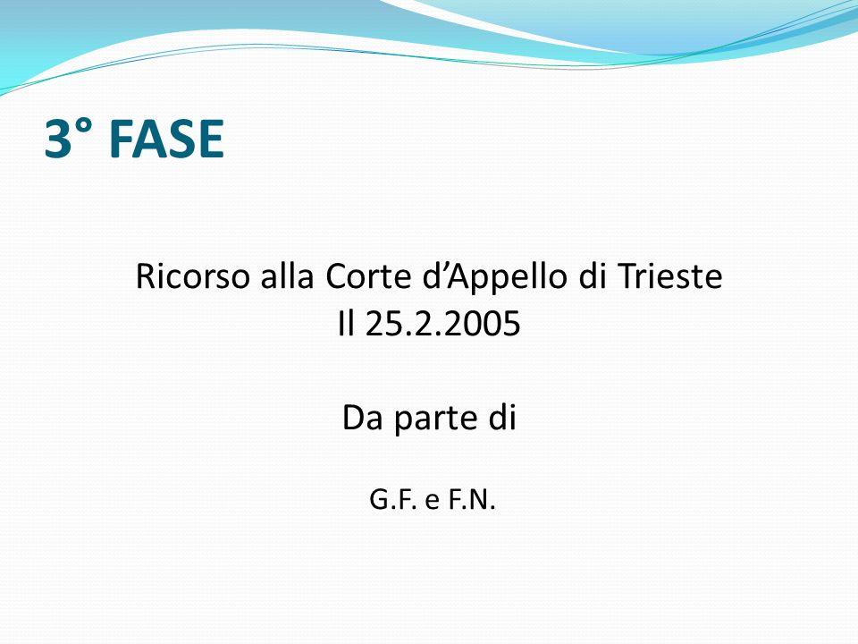 3° FASE Ricorso alla Corte dAppello di Trieste Il 25.2.2005 Da parte di G.F. e F.N.