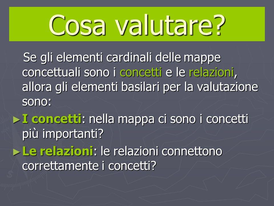 Cosa valutare? Se gli elementi cardinali delle mappe concettuali sono i concetti e le relazioni, allora gli elementi basilari per la valutazione sono: