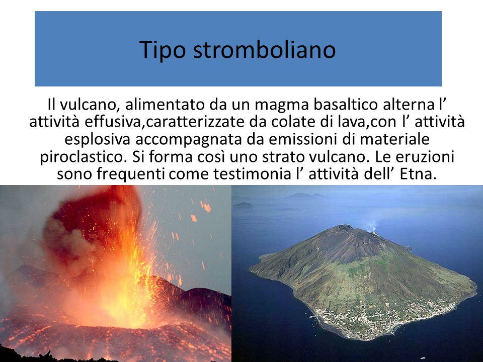 Tipo stromboliano Il vulcano, alimentato da un magma basaltico alterna l attività effusiva,caratterizzate da colate di lava,con l attività esplosiva accompagnata da emissioni di materiale piroclastico.