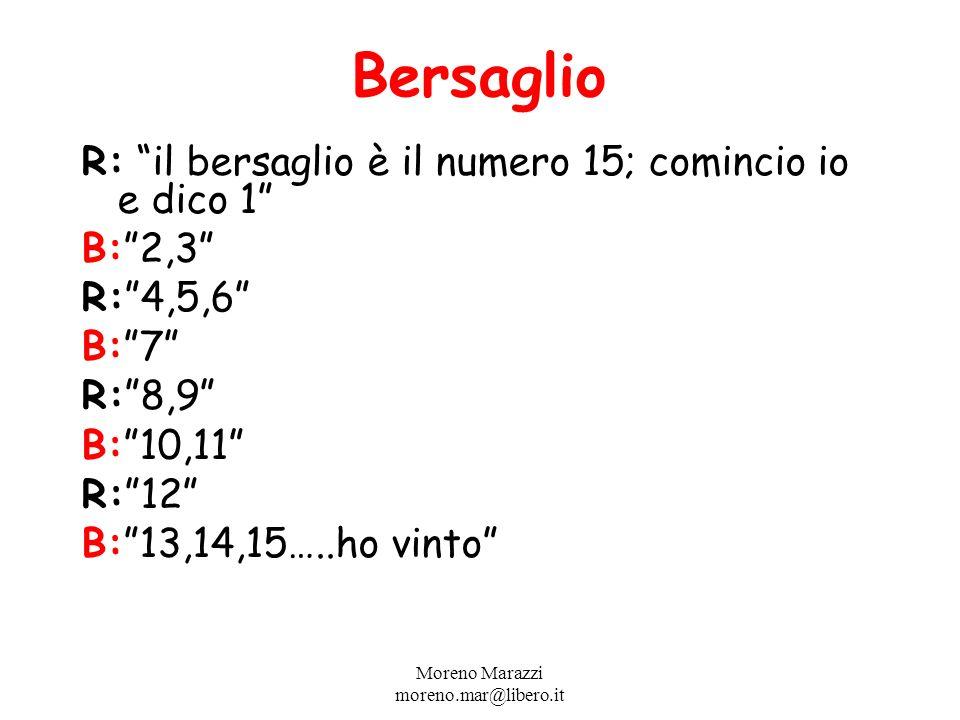 Bersaglio R: il bersaglio è il numero 15; comincio io e dico 1 B:2,3 R:4,5,6 B:7 R:8,9 B:10,11 R:12 B:13,14,15…..ho vinto Moreno Marazzi moreno.mar@libero.it